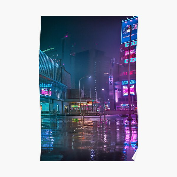 Only the rain Downtown Tokyo Poster