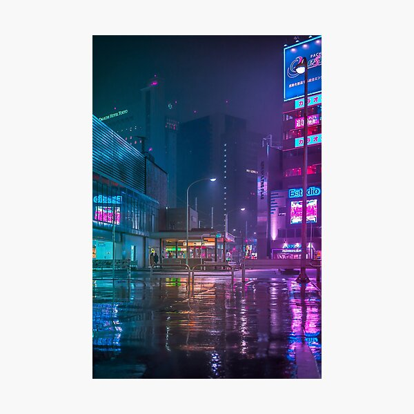 Only the rain Downtown Tokyo Photographic Print