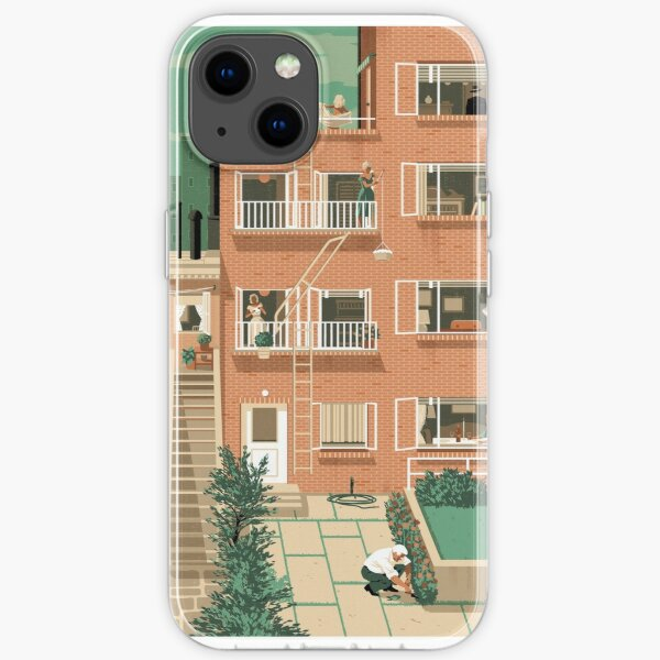 Travel Posters - Hitchcock's Rear Window - Greenwitch Village New York iPhone Soft Case