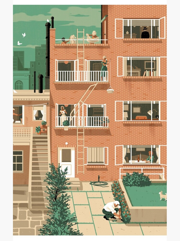 Travel Posters - Hitchcock's Rear Window - Greenwitch Village New York by ruiricardo