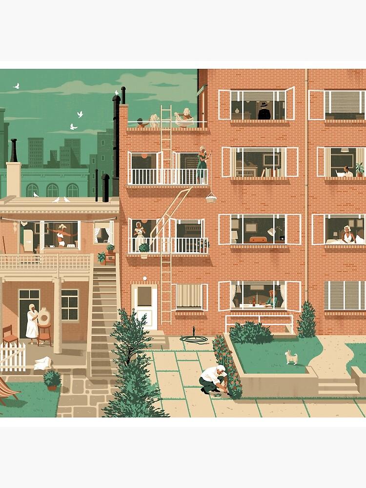 Travel Posters - Hitchcock's Rear Window - Greenwitch Village New York by ruiricardo