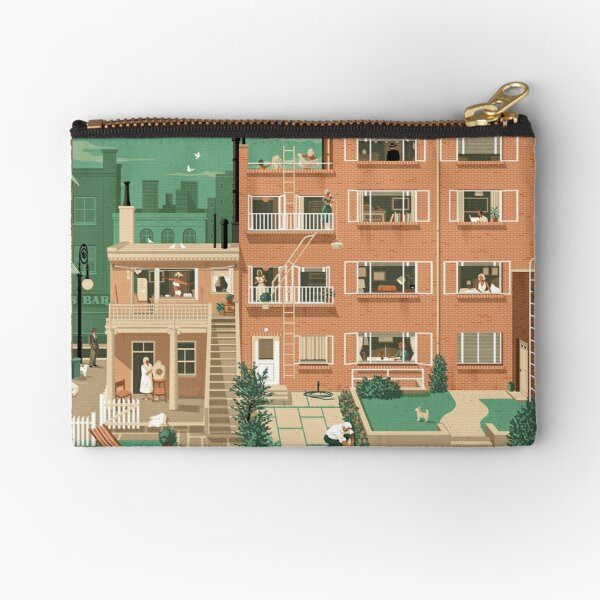 Travel Posters - Hitchcock's Rear Window - Greenwitch Village New York Zipper Pouch