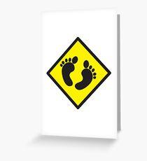 cute warning sign of feet Greeting Card