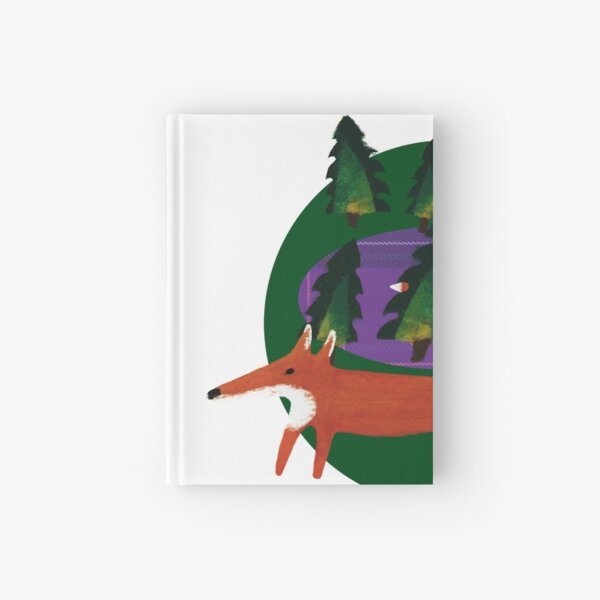 Forest with fox. Green and purple tartan pattern. Hardcover Journal
