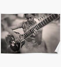 Girl Playing Sitar Poster