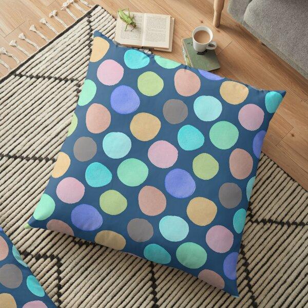 Watercolor Polka Dots on Teal Floor Pillow