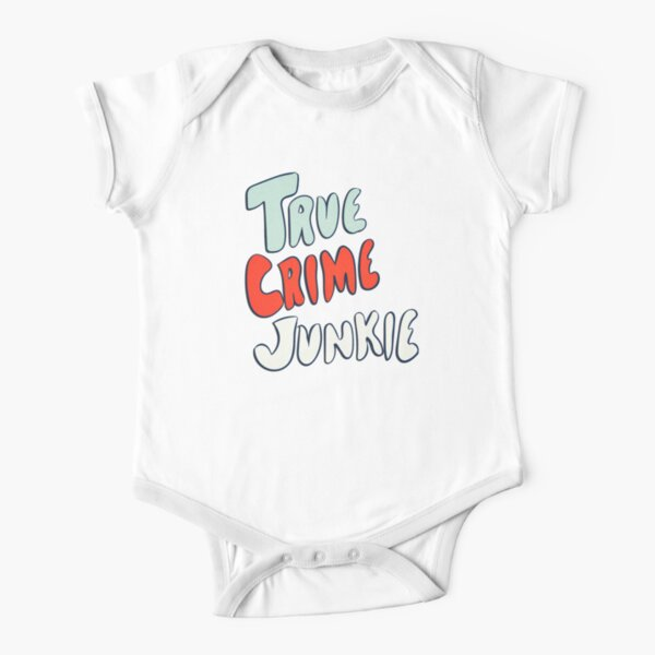 True Crime Junkie Handlettered Script Red White and Blue Short Sleeve Baby One-Piece