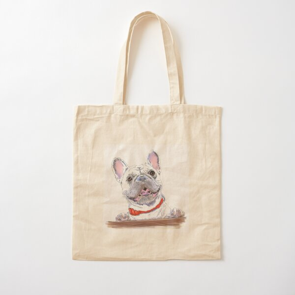 French bulldog with a red bow Cotton Tote Bag