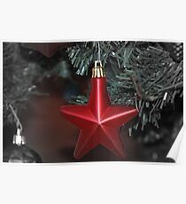 Red Christmas Star Ornament Poster