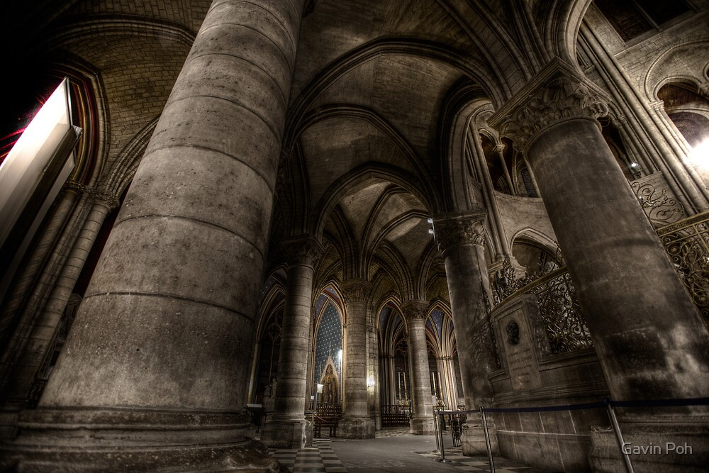 Notre Dame - pillars of old by Gavin Poh