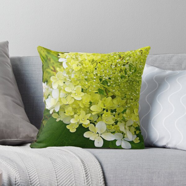 Elegant Chartreuse Green Limelight Hydrangea Macro Throw Pillow
