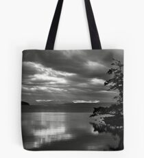 Sunrise inlet with tree silhouette Tote Bag