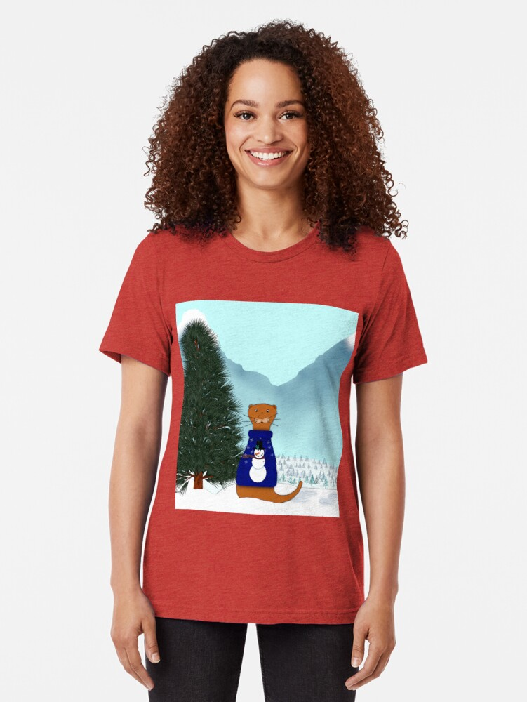 Alternate view of Oliver Finds His Christmas Tree Tri-blend T-Shirt