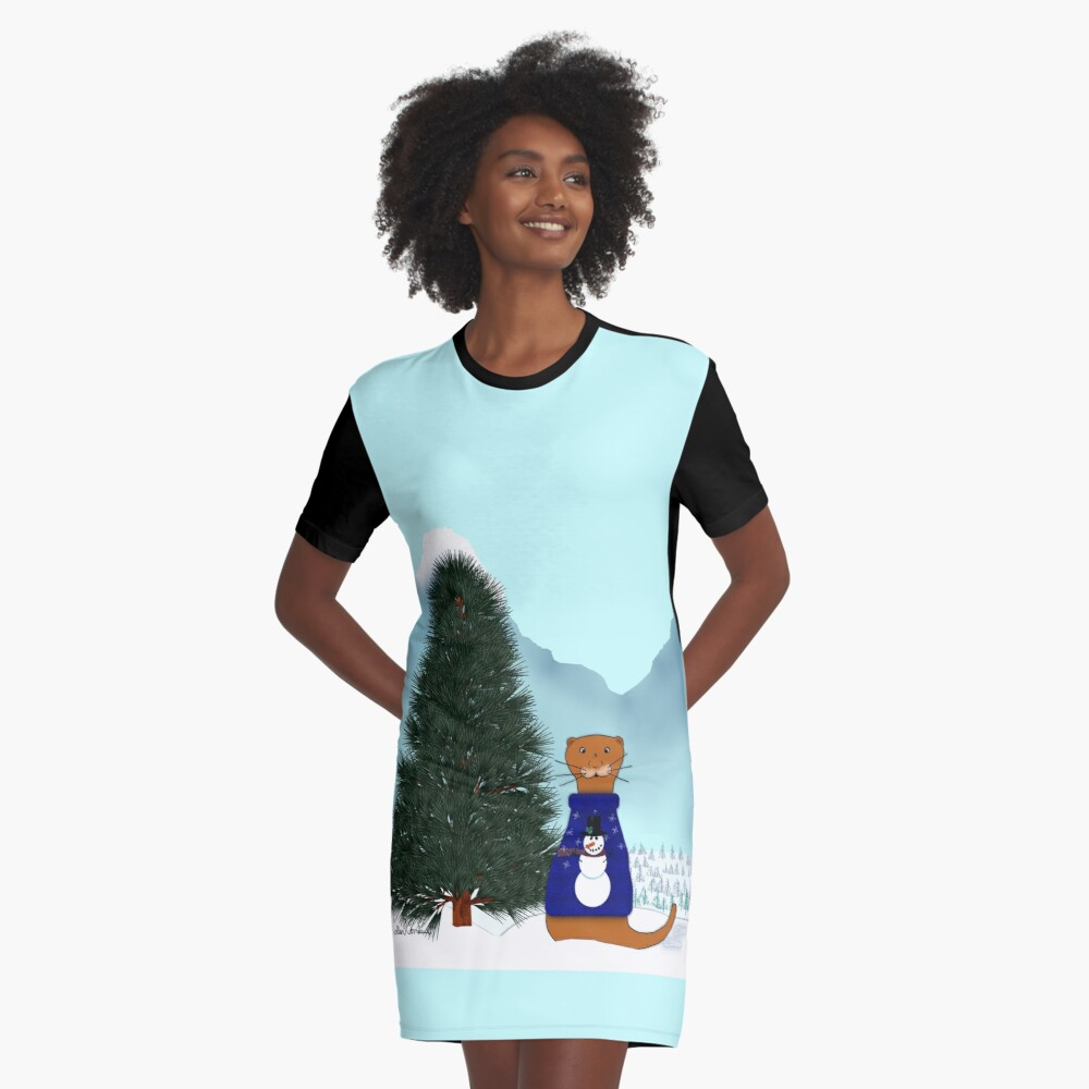 Oliver Finds His Christmas Tree Graphic T-Shirt Dress