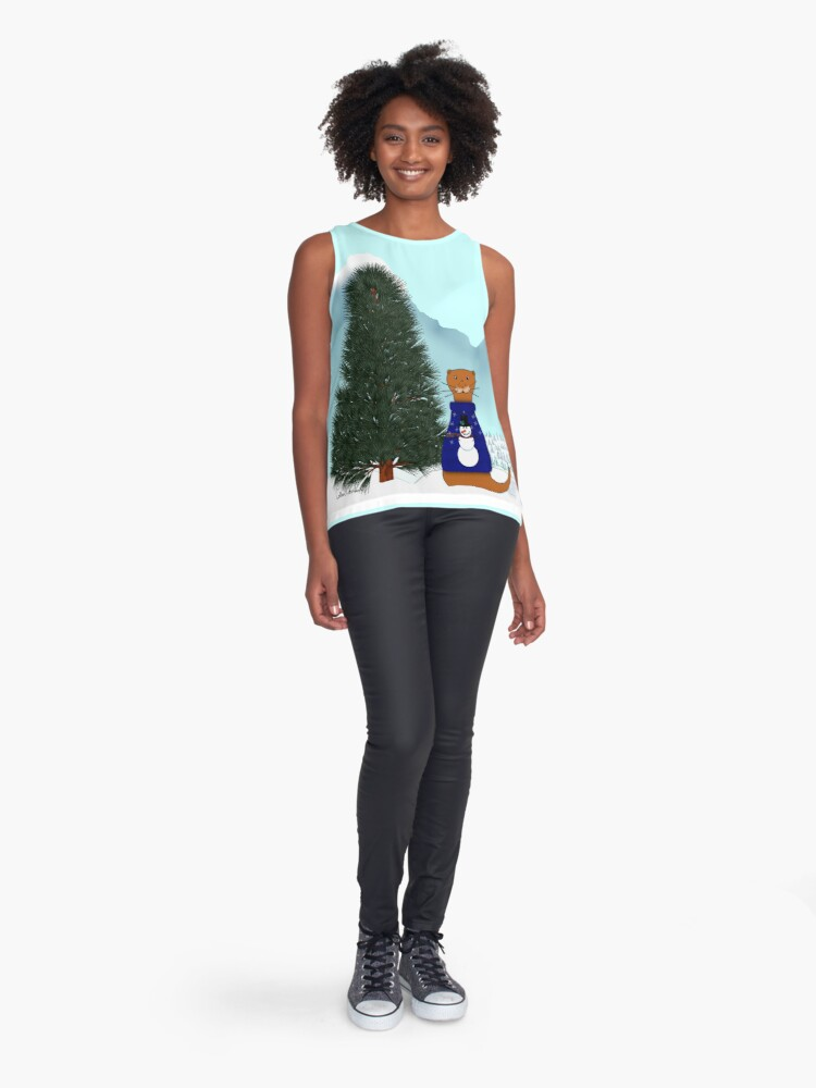 Alternate view of Oliver Finds His Christmas Tree Sleeveless Top