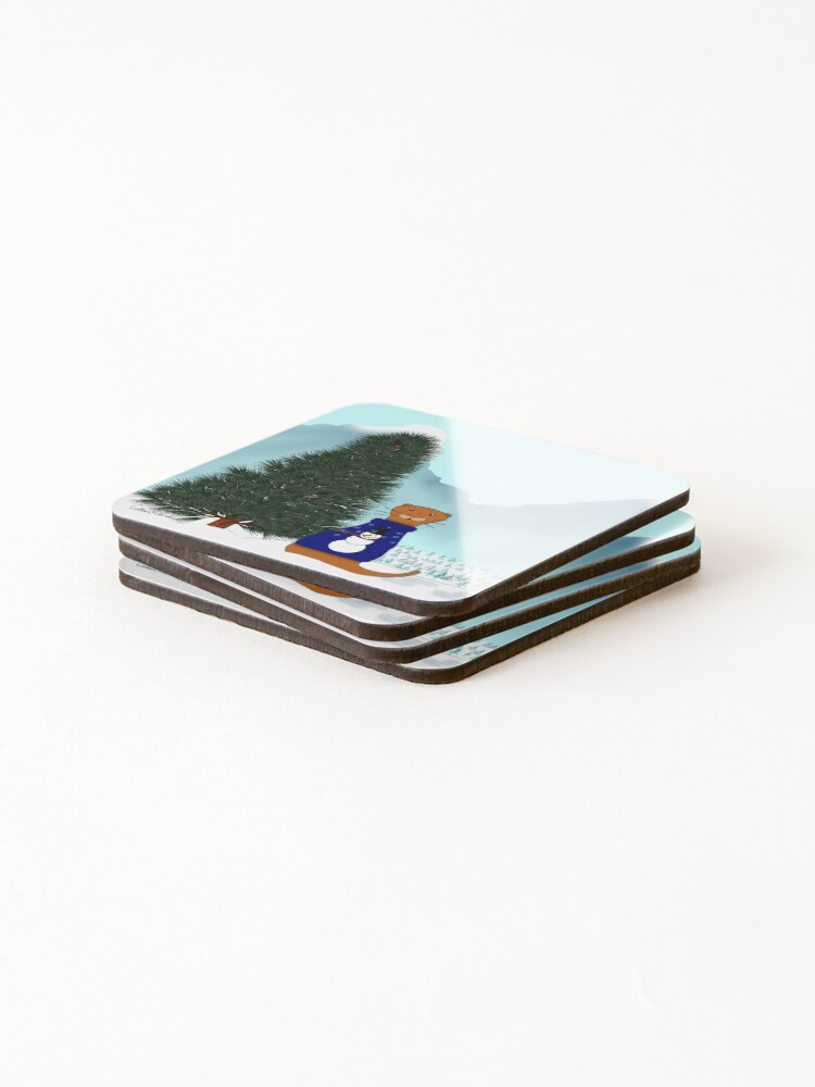 Alternate view of Oliver Finds His Christmas Tree Coasters (Set of 4)