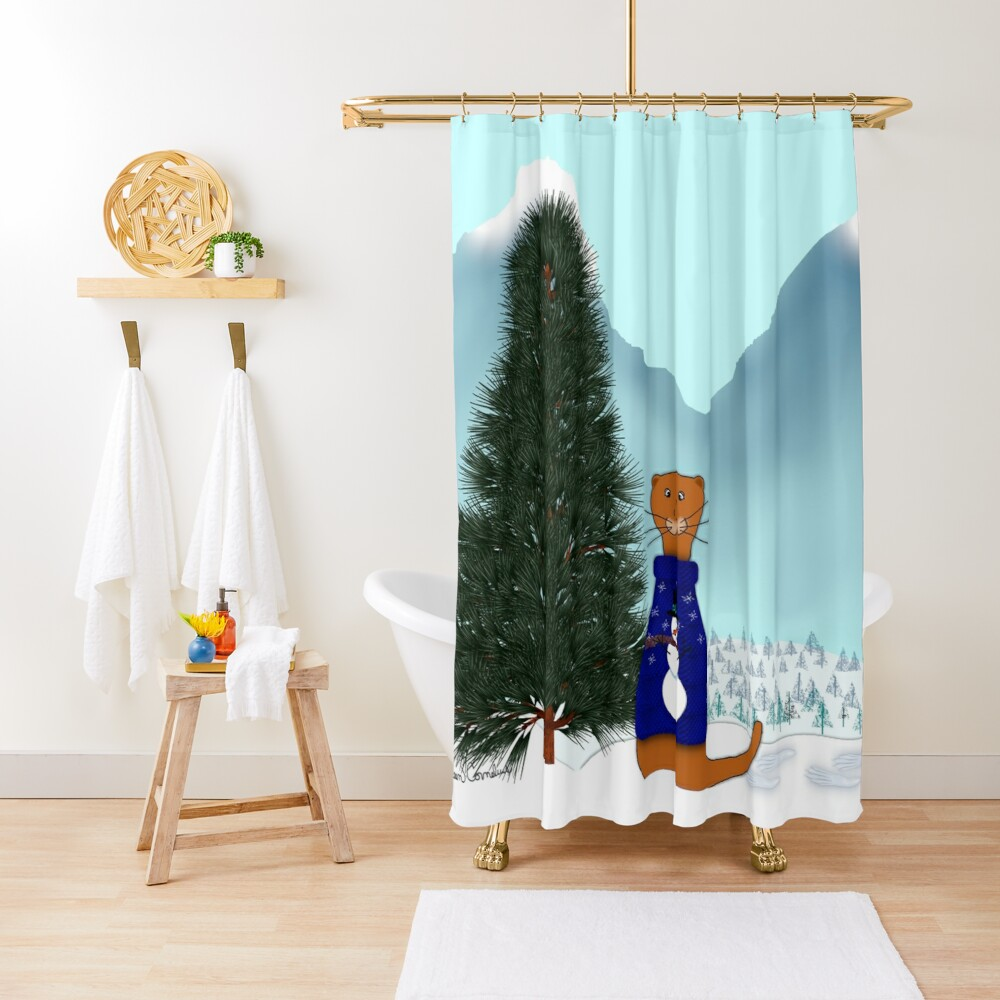 Oliver Finds His Christmas Tree Shower Curtain