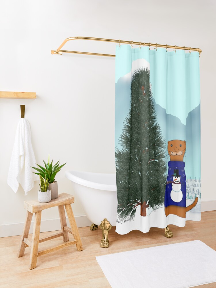 Alternate view of Oliver Finds His Christmas Tree Shower Curtain