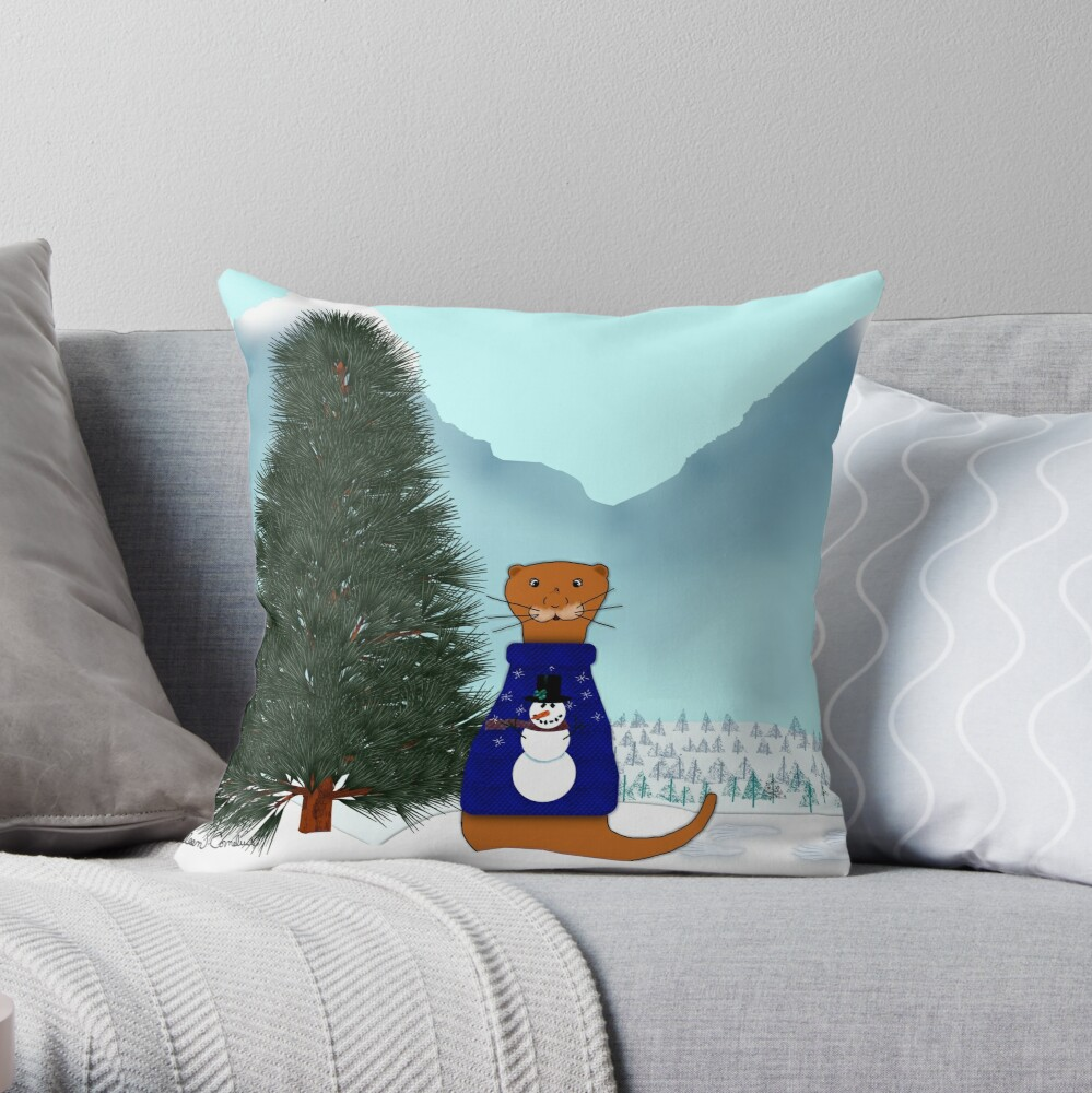 Oliver Finds His Christmas Tree Throw Pillow