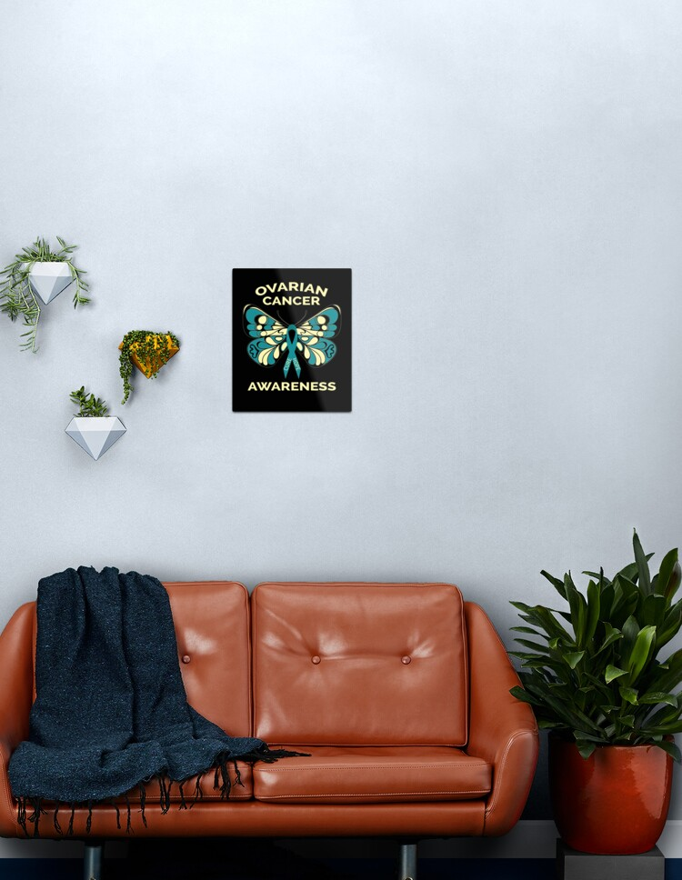 Ovarian Cancer Awareness Butterfly Teal Ribbon Metal Print By Masartdesigns Redbubble