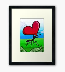 Ant Carrying the Love's Heart Framed Print