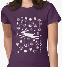 Hare in the Meadow Womens Fitted T-Shirt