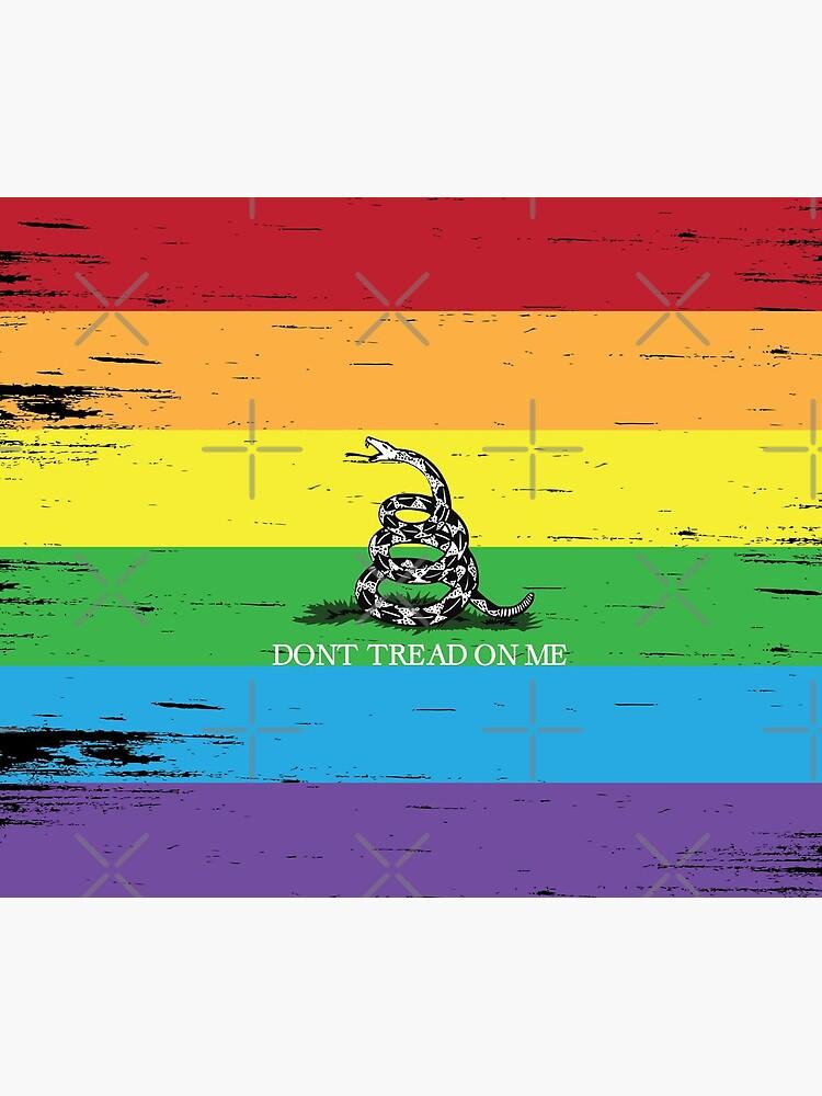 Gadsden flag LGBT Don't tread on me Libertarian 2nd amendment 2A rainbow flag ANCAP with rainbow flag grunge by iresist