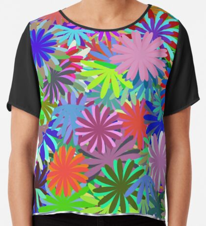 Meadow of Colorful Daisies Chiffon Top