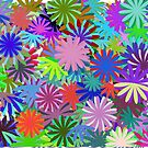 Meadow of Colorful Daisies by Shapes-Mania