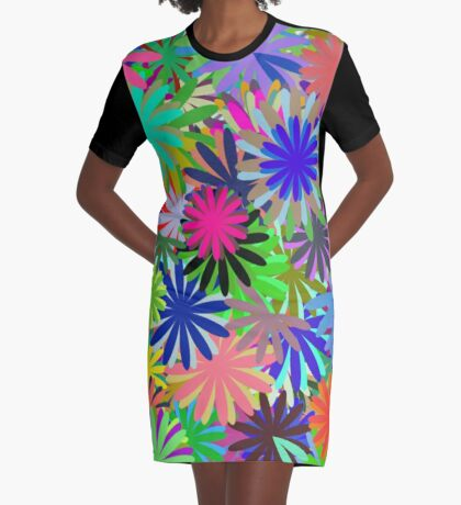 Meadow of Colorful Daisies Graphic T-Shirt Dress