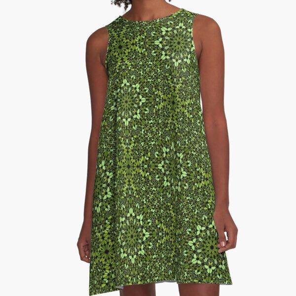Detailed Green Geometric Mandala Design A-Line Dress
