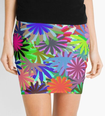 Meadow of Colorful Daisies Mini Skirt