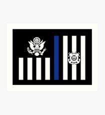 Coast Guard Thin Blue Line Ensign Art Print