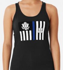 Coast Guard Thin Blue Line Ensign Racerback Tank Top