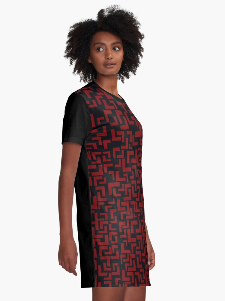Alternate view of Glitches in the Void, Red Graphic T-Shirt Dress