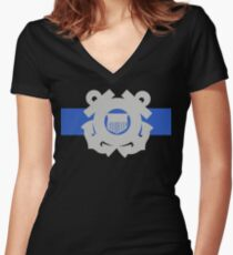 Coast Guard Thin Blue Line Fitted V-Neck T-Shirt