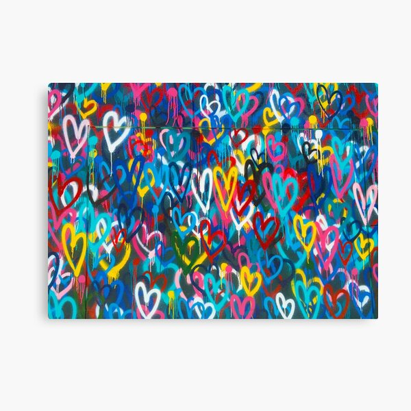 Graffiti Urban colorful graffiti city wall chaotic hearts pattern painting grunge rainbow Canvas Print