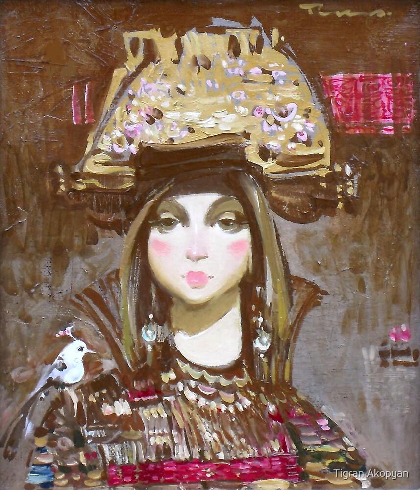 Woman with a White Bird by Tigran Akopyan