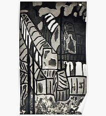 Townscape with telegraph poles (aquatint) Poster