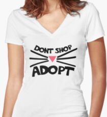 Don't shop ADOPT a cat Women's Fitted V-Neck T-Shirt