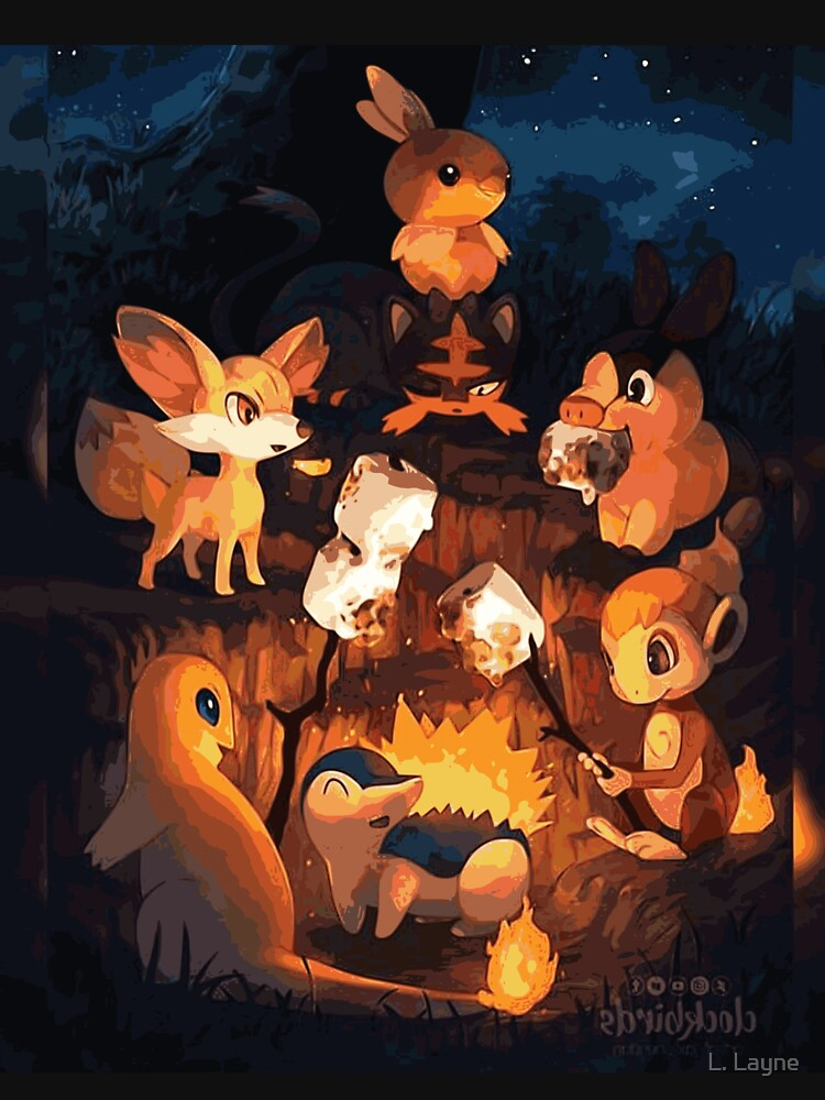Fire Starters Chilling in a Campfire - Pocket Monsters by LorenzoGnech