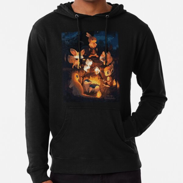 Fire Starters Chilling in a Campfire - Pocket Monsters Lightweight Hoodie