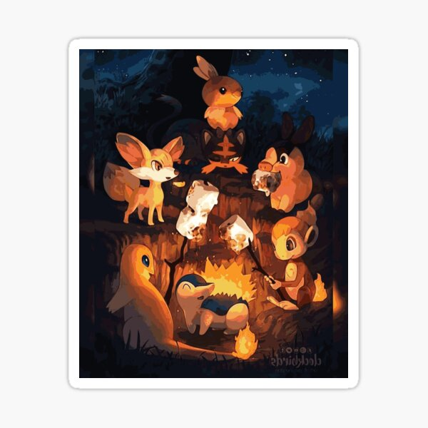 Fire Starters Chilling in a Campfire - Pocket Monsters Sticker