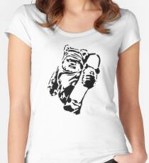 Jawa Skateboarder Stencil Women's Fitted Scoop T-Shirt