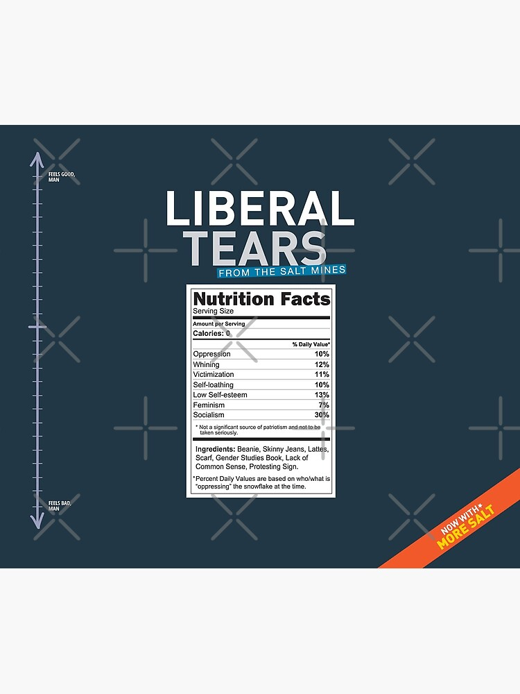 SPECIAL Liberal/Democrat Tears From the Salt Mines Logo with salty tears supplement facts - Online Store by iresist