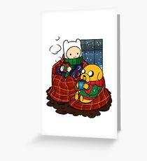 Finn and Jake Really Big Sweaters  Greeting Card