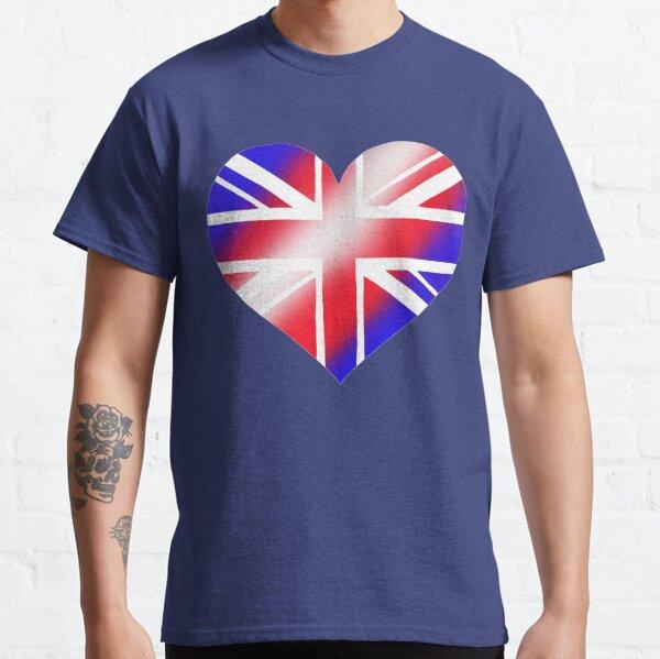 Union Jack Flag Heart. Stencil. Red white blue Classic T-Shirt