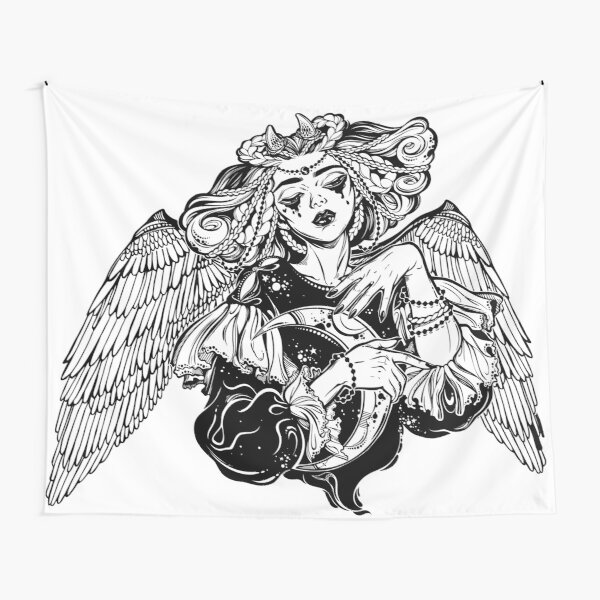 Beautiful pagan magic winged and horned goddess Lilith with crescent in her hands. Tapestry