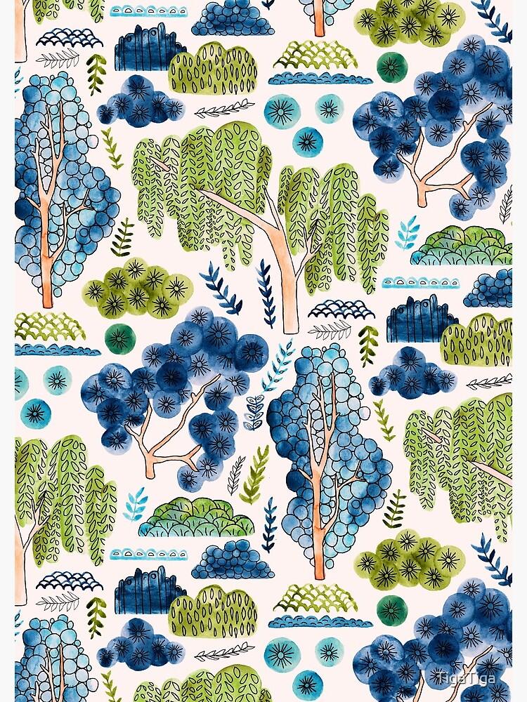 Cute Watercolor Chinoiserie Garden by TigaTiga