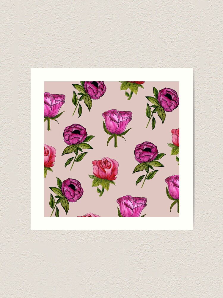 Alternate view of Pink and Purple florals Art Print